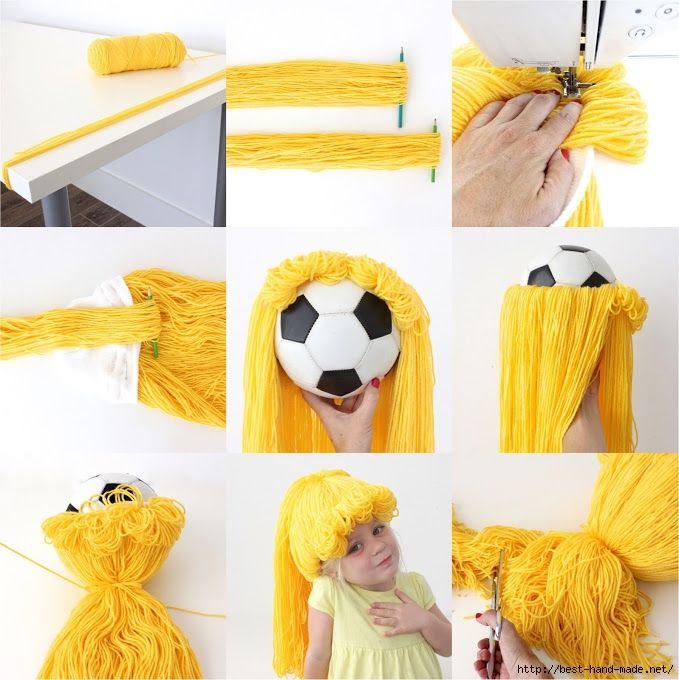Как сделать парик из ниток для человека своими руками 4
