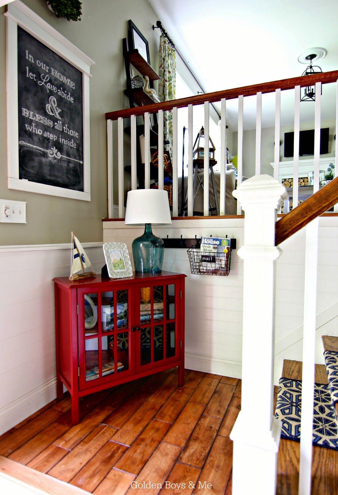 split level foyer with diy stair runner www goldenboysandme com split level foyer with diy stair runner www goldenboysandme com