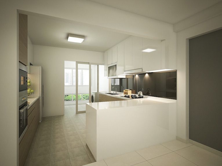 Transformation of a 20 year old HDB 4 room flat into a modern  brightTransformation of a 20 year old HDB 4 room flat into a modern  . Hdb 4 Room Kitchen Design. Home Design Ideas
