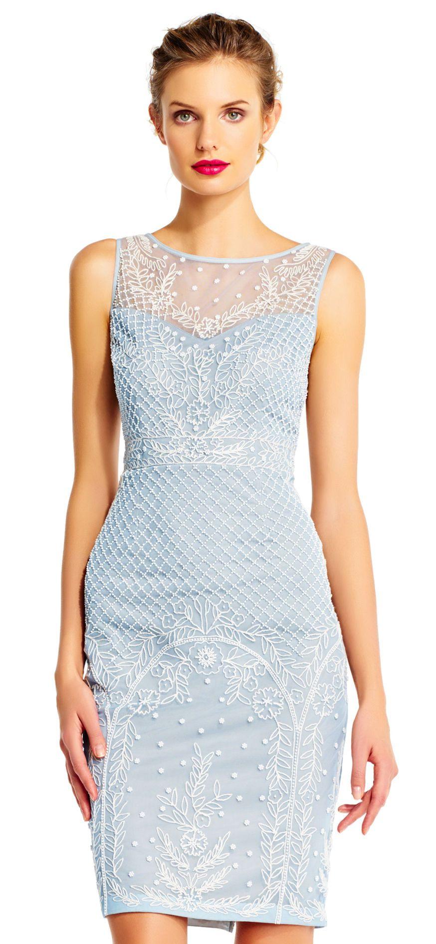 aa05953b Adrianna Papell | Sleeveless Pearl Beaded Sheath Dress with Illusion  Neckline