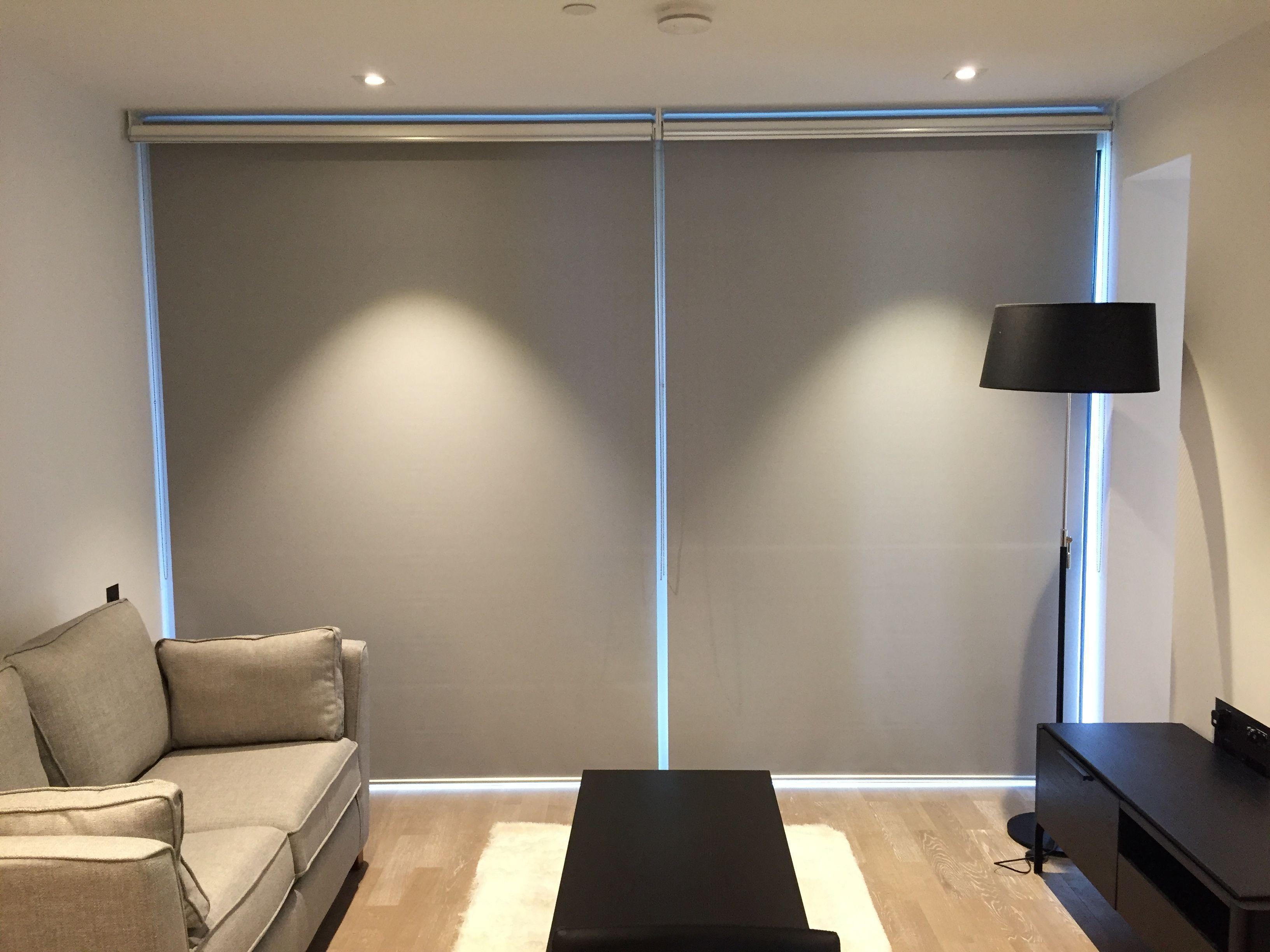 Doubledual roller blinds showing the blackout roller blind down