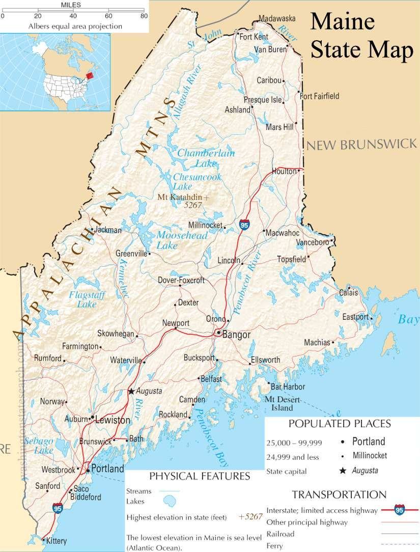 Map Of Maine Maine State Map A Large Detailed Map Of Maine State