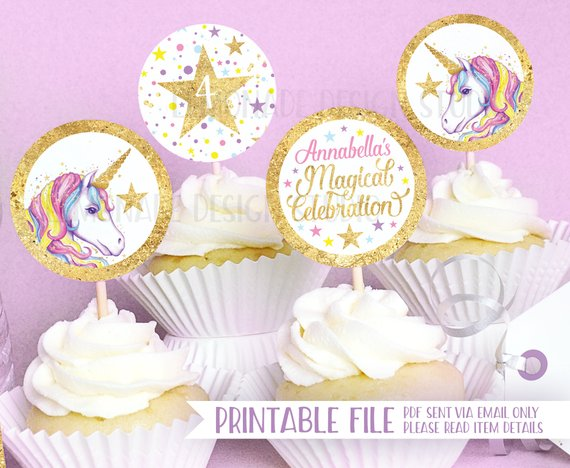 photograph relating to Unicorn Cupcake Toppers Printable named Unicorn Celebration PRINTABLE CUPCAKE TOPPERS, Unicorn Social gathering