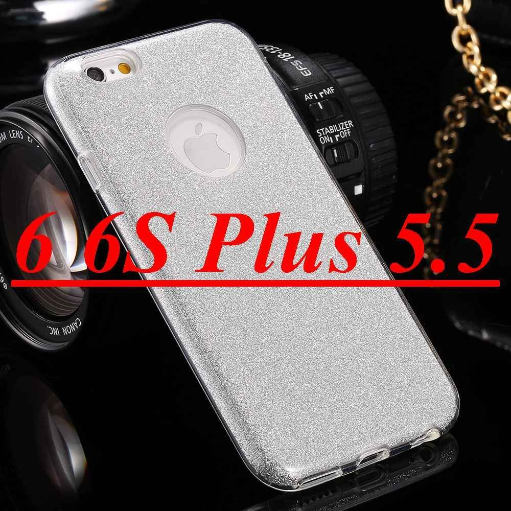 Combo Hard Plastic + Soft Clear Cover Sparkle Glitter Back Phone Case