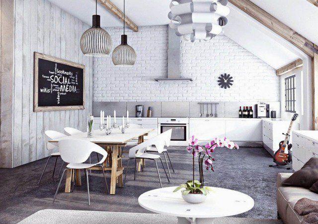 Papier peint brique pour un salon de style industriel | Cuisine ...