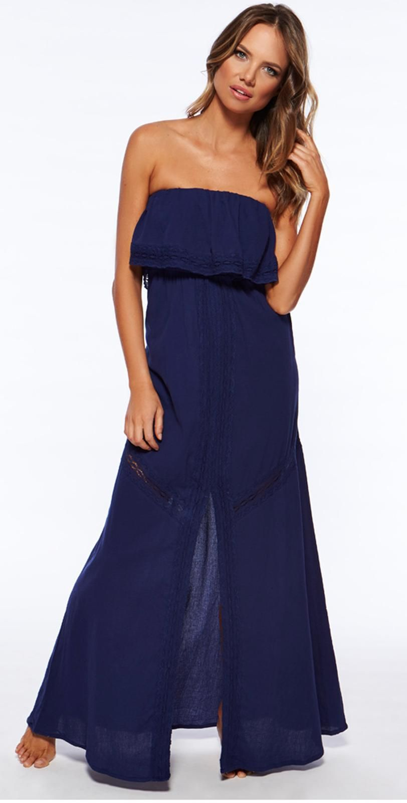 L space del ray long indigo maxi dress delmdind coverup