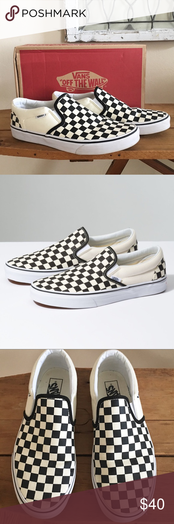 black and white checkered vans size 3