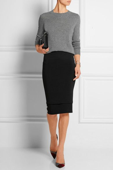 a0da26342c Donna Karan New York pencil skirt + gray top. 25 Fashionable Office Looks  For This Fall Black Pencil Skirts ...