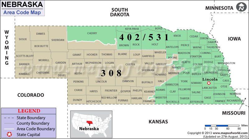 Map of Nebraska Area Codes Maps