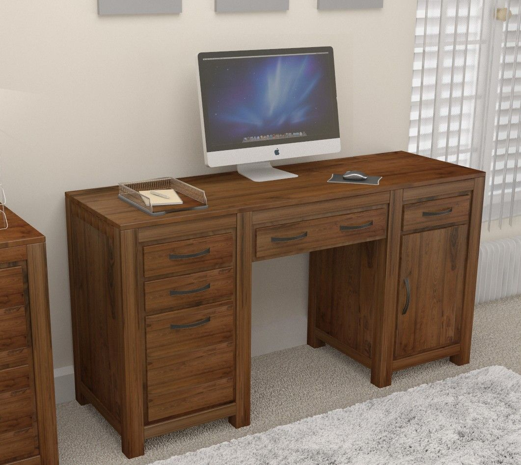 our mayan walnut twin pedestal computer desk has lots of neat storage