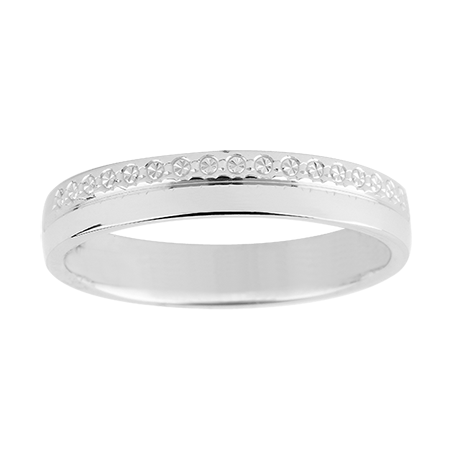 New Ladies Diamond Cut Wedding Ring with Single Plain Edge in Carat White Gold M