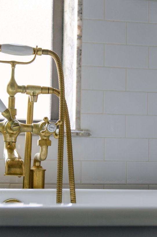 unlacquered brass tub fill  handheld shower from indigo