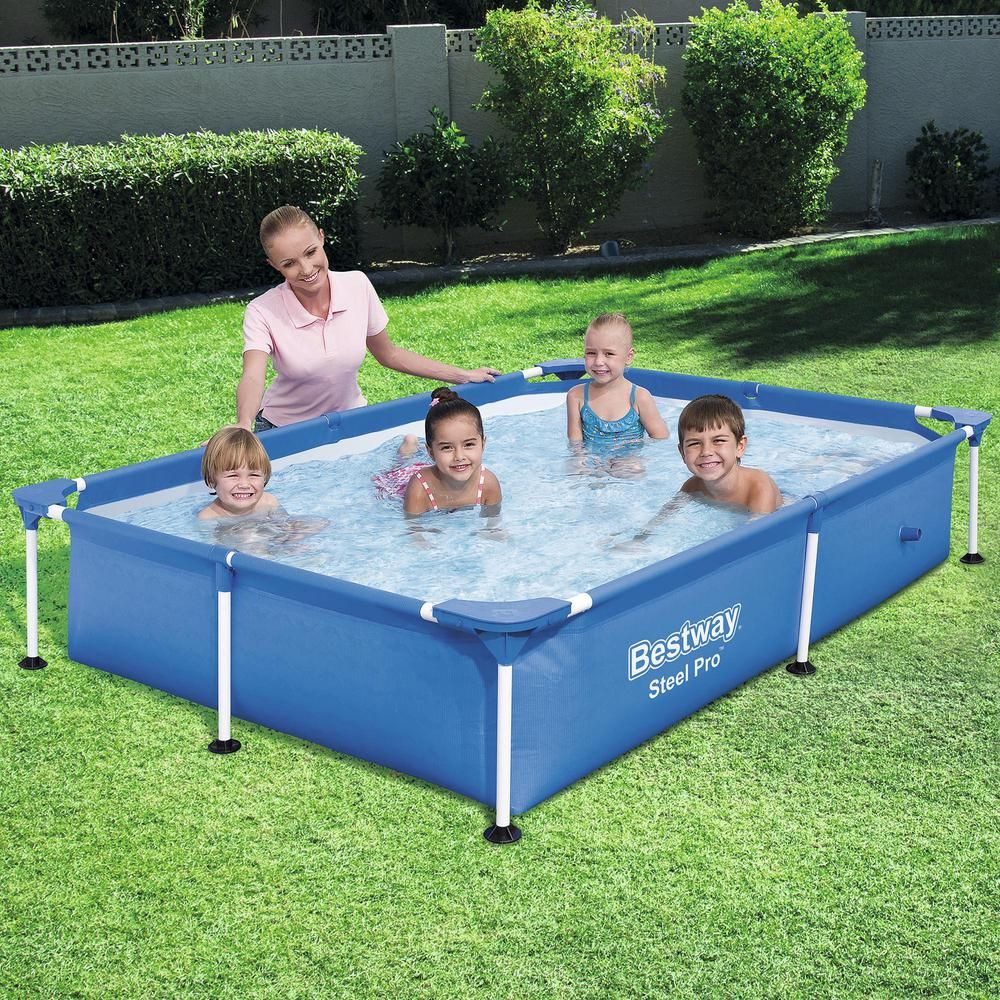 Bestway Bestway Steel Pro 87 In X 59 In X 17 In Rectangular Frame Above Ground Swimming Pool 56545e Bw The Home Depot Above Ground Swimming Pools Swimming Pools Children Swimming Pool