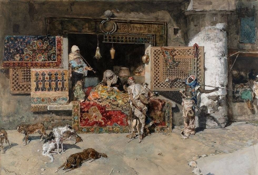 Mariano Fortuny (1838 — 1874, Spain) The seller of Rugs. 1870  watercolor on paper. 59 × 85 cm. Museum at Montserrat. Barcelona