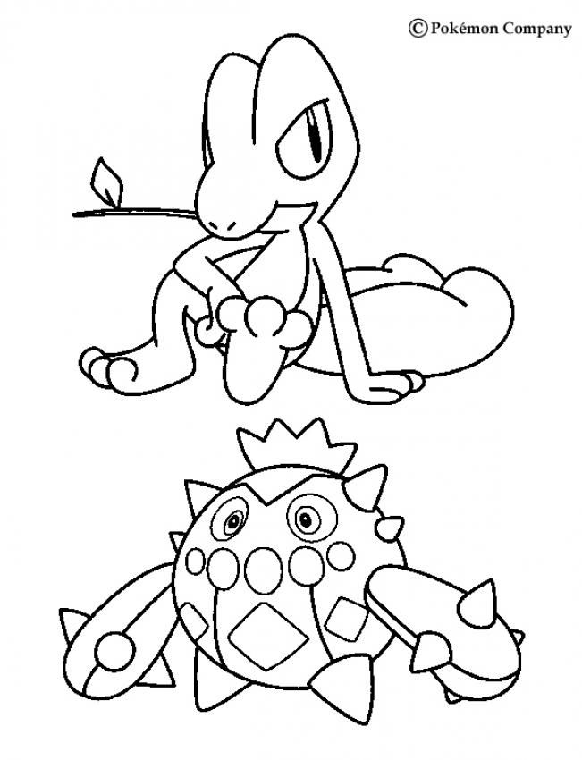 Treecko And Cacnea Pokemon Coloring Page More Grass Pokemon