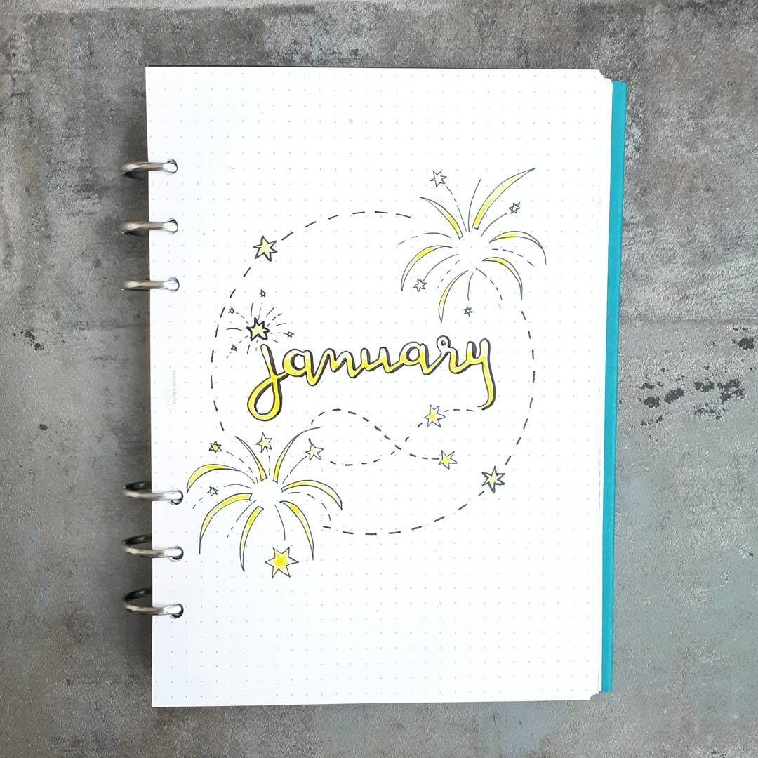 Bullet journal monthly cover page, January cover page ...