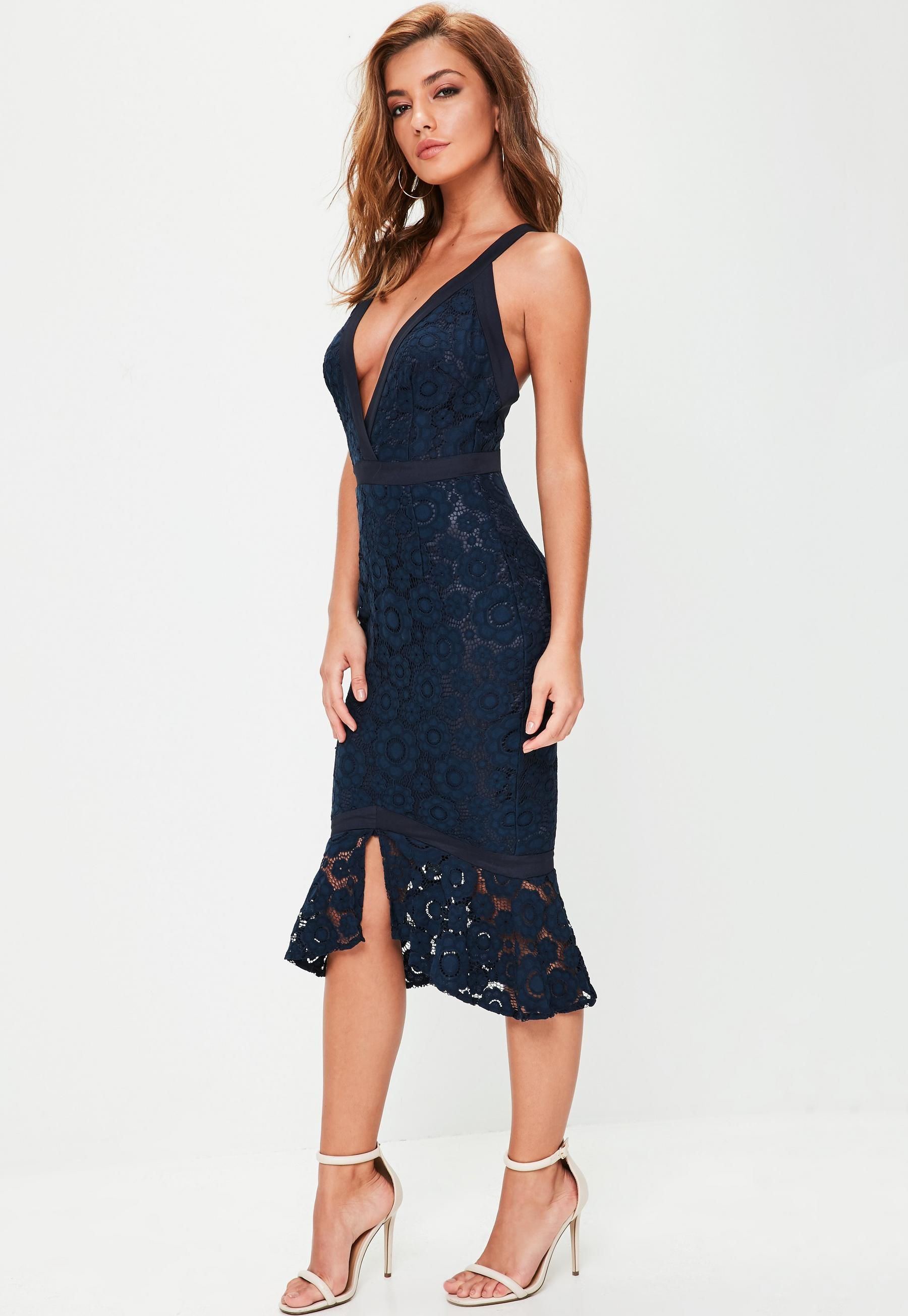 66e21a470d24 Navy Strappy Lace Frill Hem Midi Dress | Missguided | Womens Clothes ...