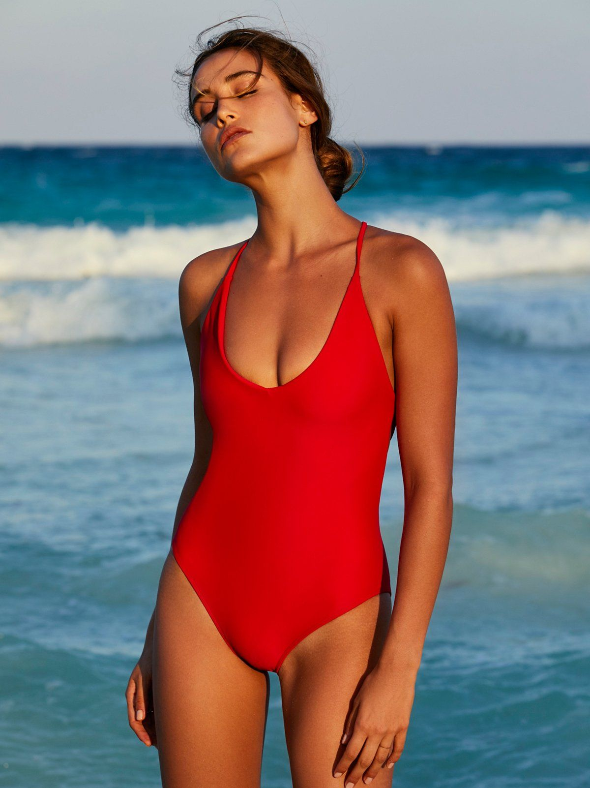 2c24adedcc38c Farrah One Piece Swimsuit | American made solid one piece swimsuit  featuring a plunging V-neckline. * Open strappy back * Cheeky bottom fit *  High cut ...