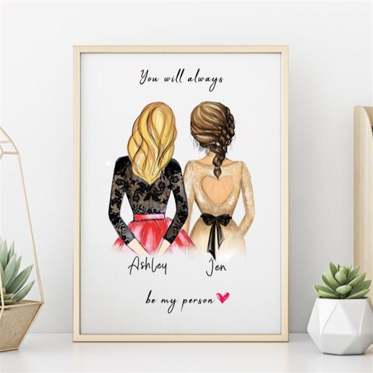 Personalized Best Friend Wall Art Best Friend Drawings Drawings Of Friends Personalized Wall Art