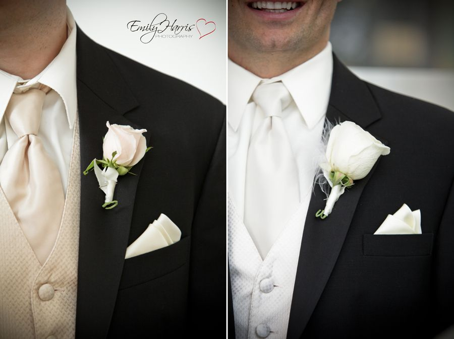 Wedding Tux Boutineer Grooms Attire White Rose Flowers
