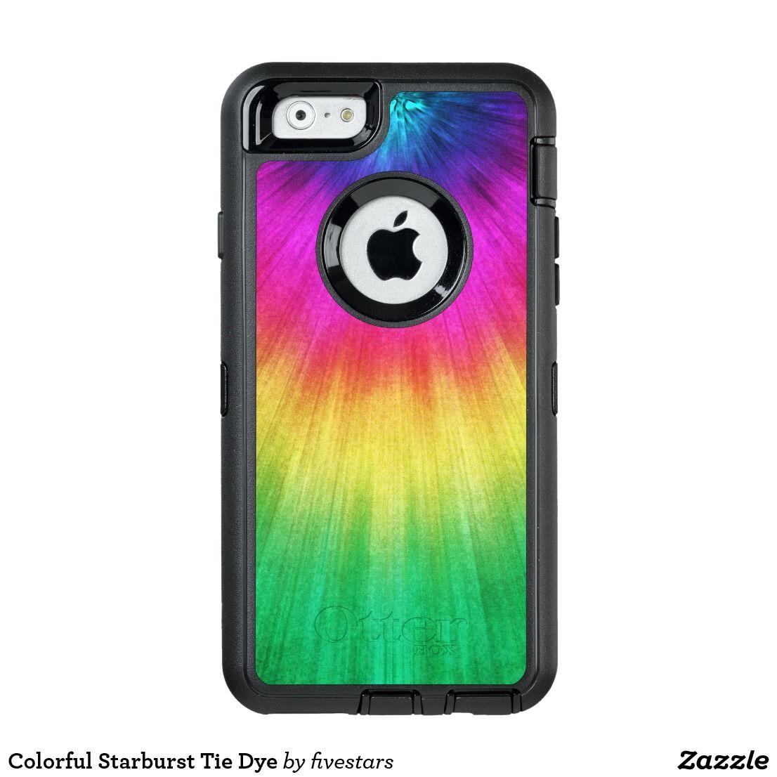 Colorful starburst tie dye otterbox iphone case zazzle