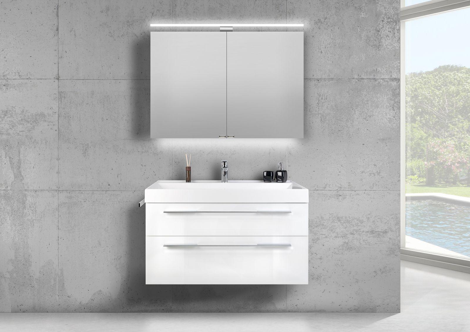 Badmobel Set 100 Cm Waschtisch Evermite Mit Spiegelschrank Led Weiss Hg Spiegelschrank Led Unterschrank Und Waschtisch