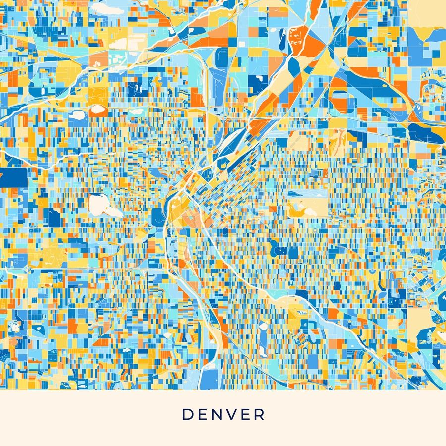 Denver colorful map poster template