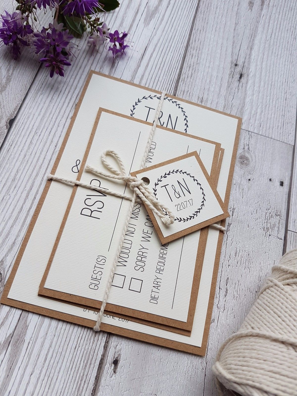 Rustic Kraft Wedding Invitation Sample Set Wedding Stationery