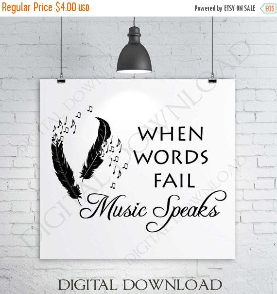 Music Speaks Quote Vector Digital Design Download Ready to