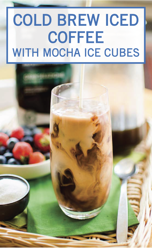 This Cold Brew Iced Coffee with Mocha Ice Cubes is one