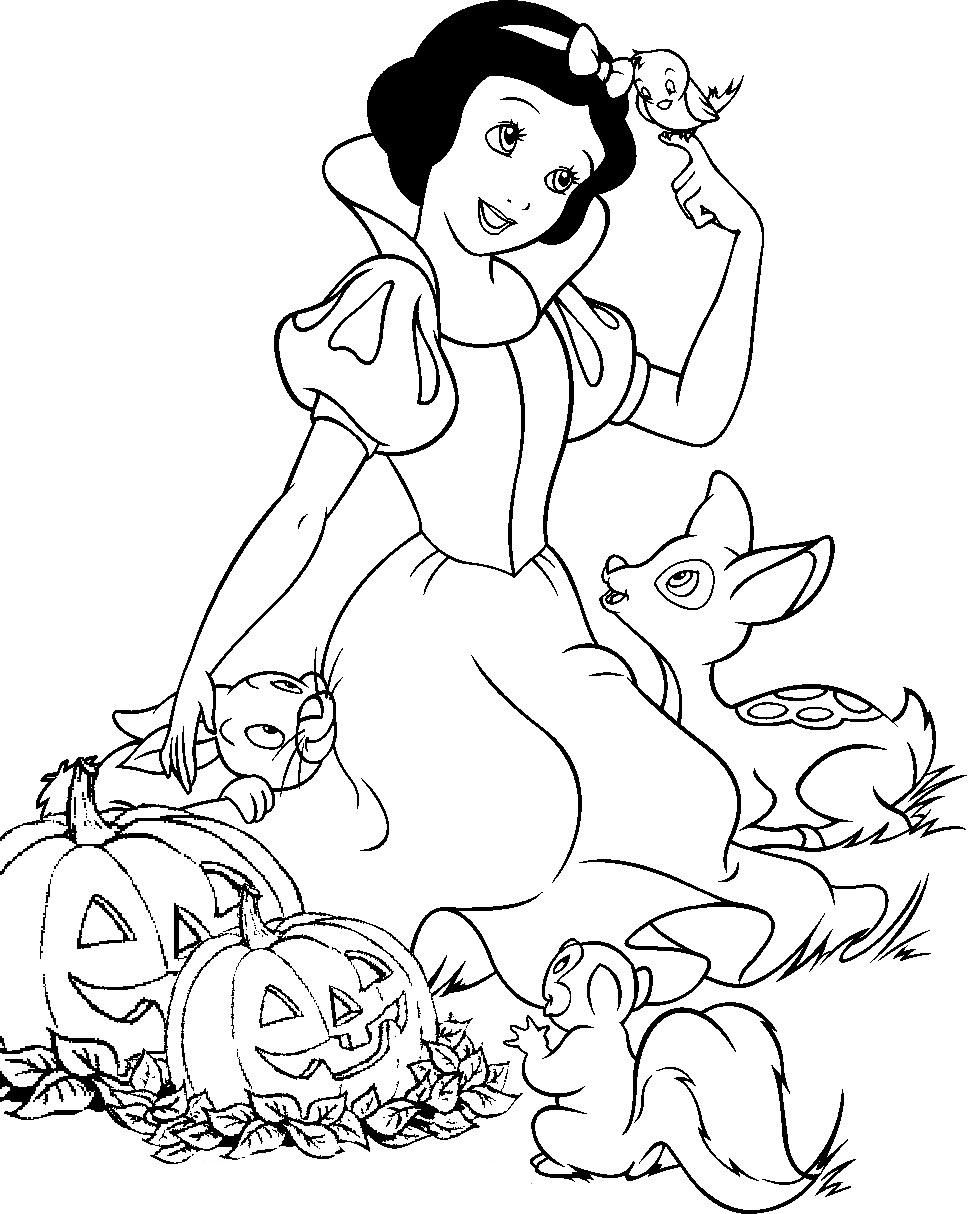 Disney princess birthday coloring pages - Snow White Halloween Coloring Page