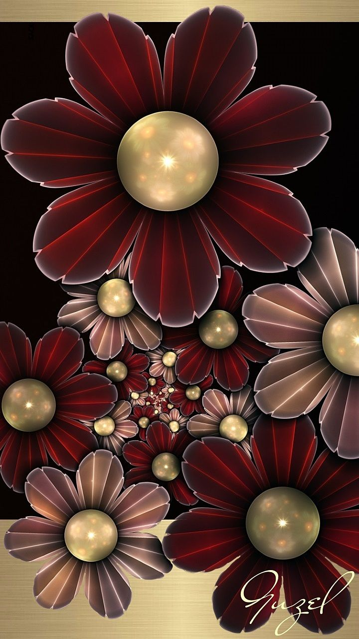 Maroon and Gold Flowers Wallpaper | *Pink and Flowers Wallpaper