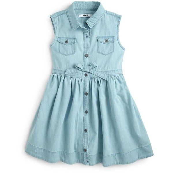 0732bbc9a4382 DKNY Kids Toddler s   Little Girl s Tilly Denim Bow Dress ( 27) ❤ liked on  Polyvore featuring baby