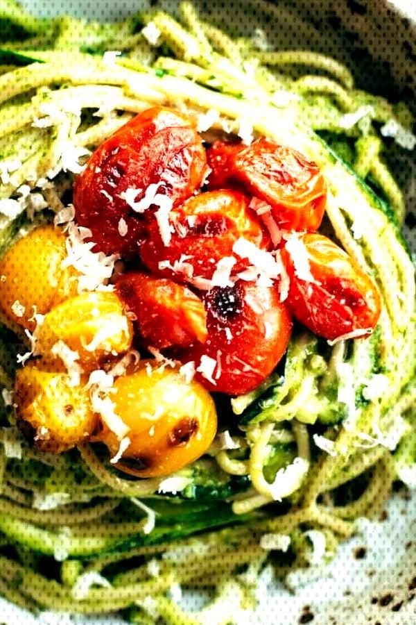 Burst Tomato and Zucchini Spaghetti with Avocado Sauce - We are living in the deep of winter. Deep,