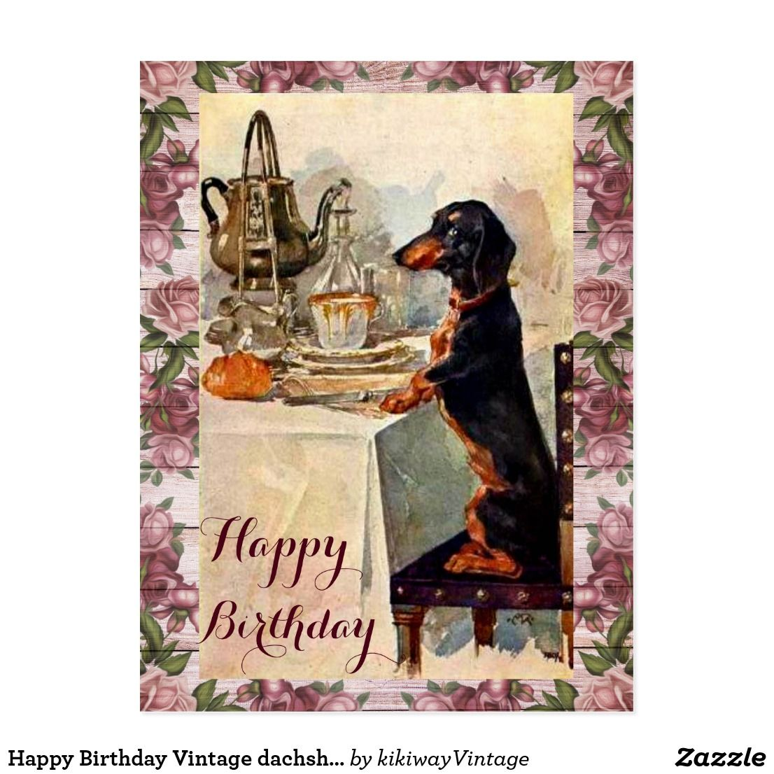 Happy Birthday Vintage dachshund drinking tea Postcard