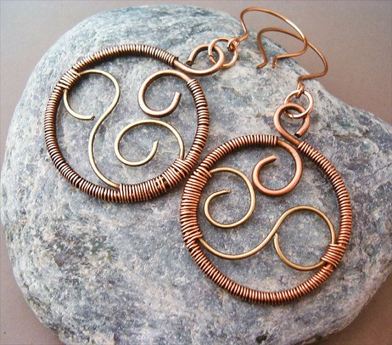 Wire wrapped earrings brass and copper - Handmade Copper Earrings ...