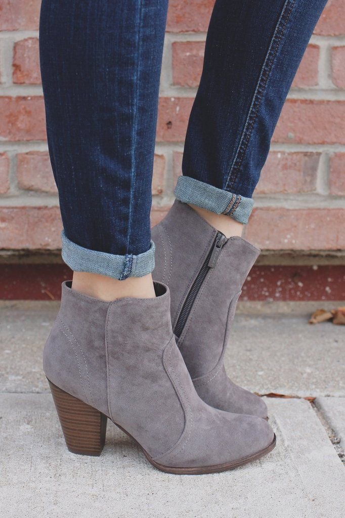 96668c37296 Grey Faux Suede Round Toe Chunky Heel Bootie | SHOES ALWAYS FIT in ...