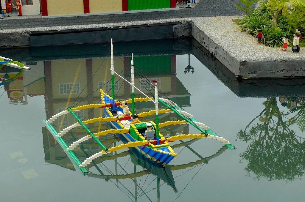 Colorful Lego fishing boat