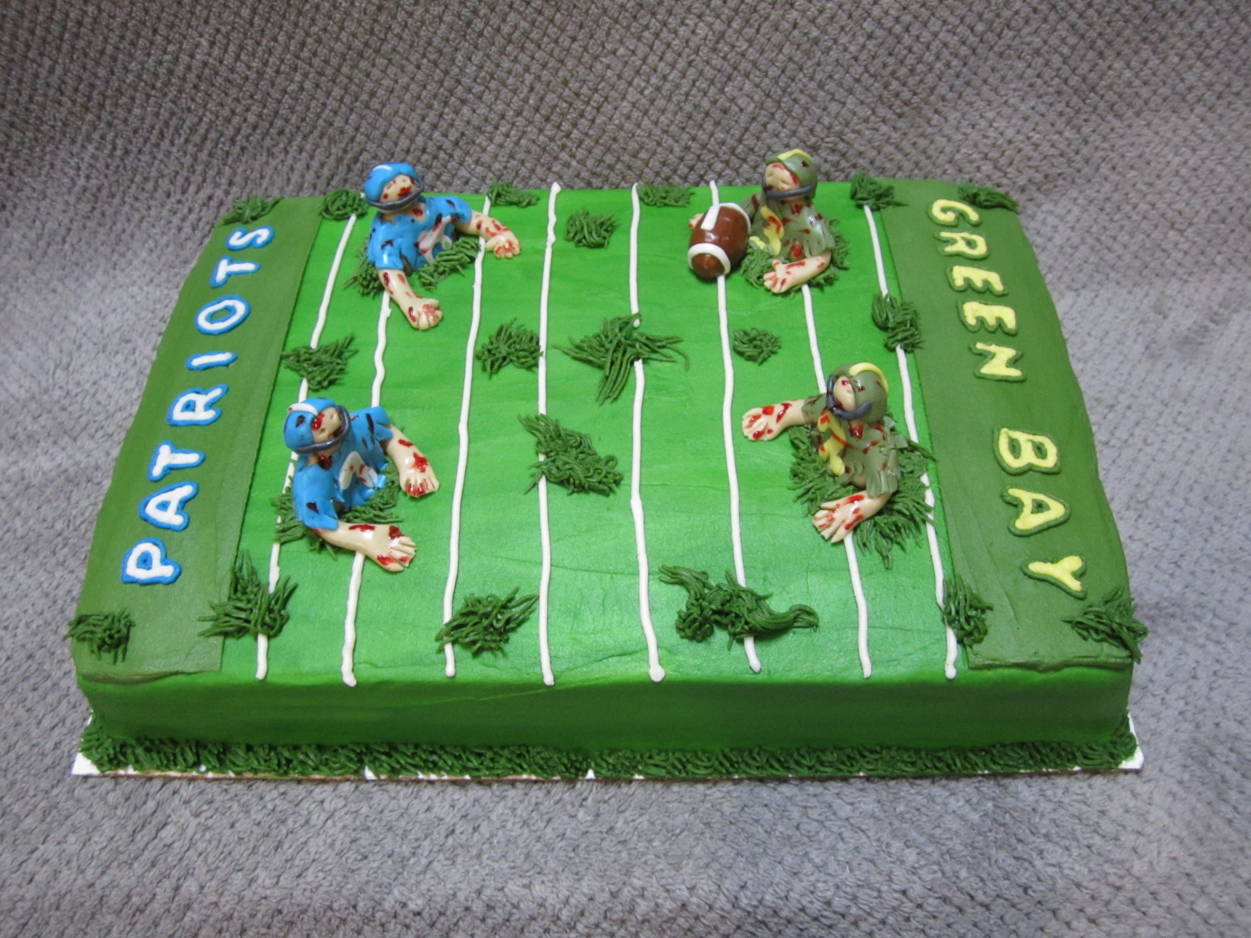 Zombie Football Cake Featuring Greenbay Packers Vs New England Patriots Green Bay Packers Cake Patriotic Cake Cake