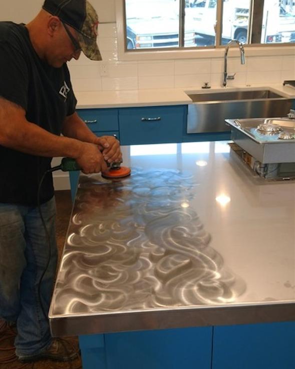 Stainless Steel Island Countertop Grinding Swirls To Replicate A Midcentury Modern Look Stainless Steel Island Island Countertops Stainless Steel Countertops