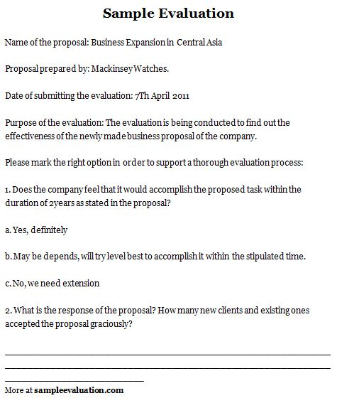 Sample Evaluation Sample Evaluation Form  Sample Evalution