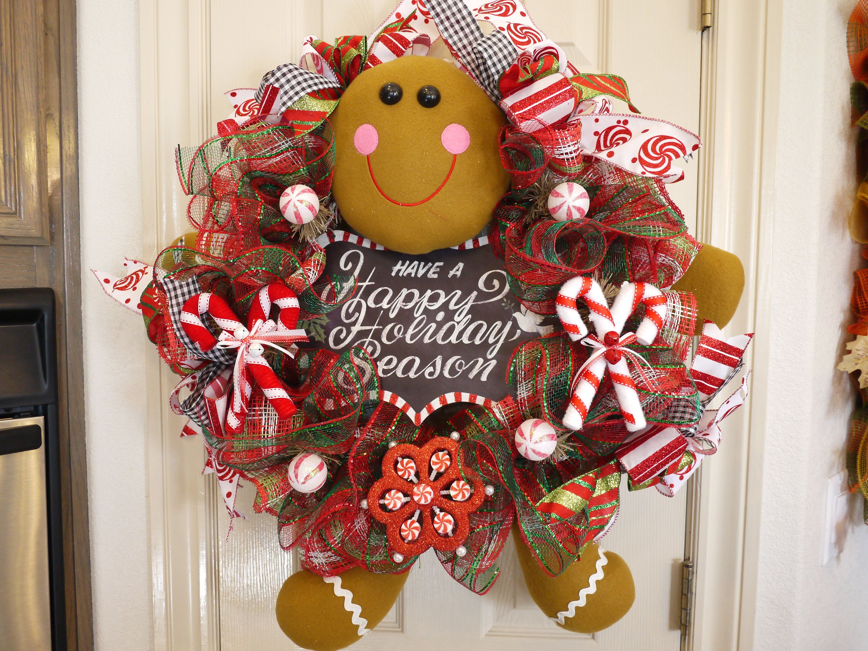Christmas Wreath Free shipping Gingerbread Gingerbread Boy Wreath