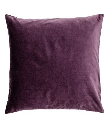 Dark Purple Cushion Cover In Cotton Velvet With A Concealed Zip