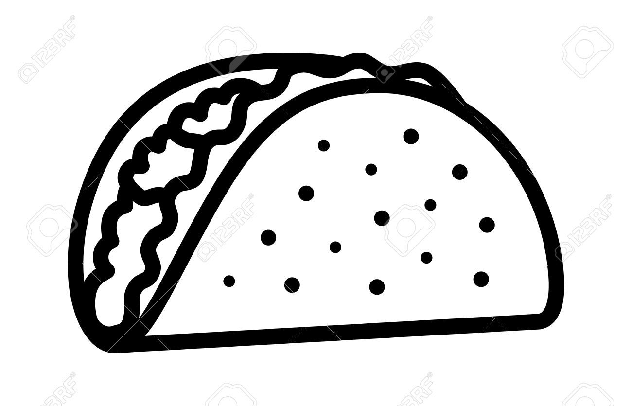 Image result for clipart blackline pictures of a taco food