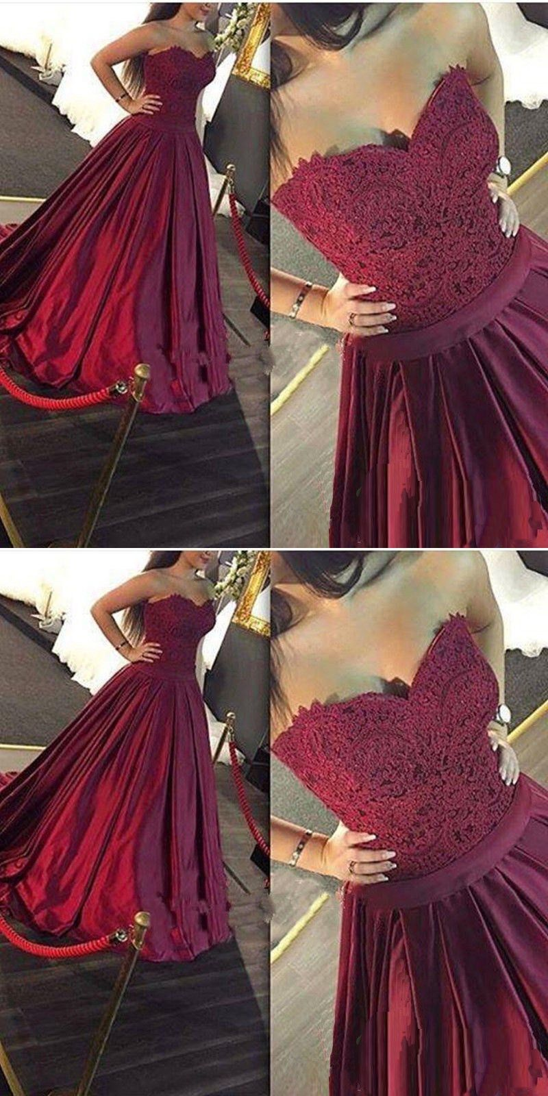 A-Line Sweetheart Sweep Train Burgundy Satin Prom Dress with Lace ...