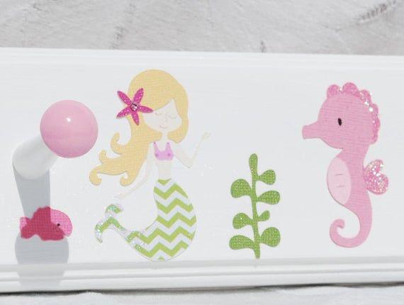 "Mermaid Bathroom Towel Hooks in Pink and Green. Mermaid Bathroom Decor for Sisters Twins Girls . 24"" #mermaidbathroomdecor"