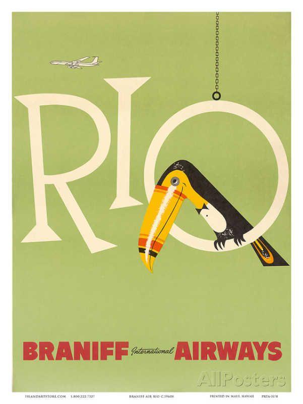 Rio de Janeiro, Brazil, Brazilian Drummer and Dancer with Castanets, Braniff International Airways Affiche sur AllPosters.fr