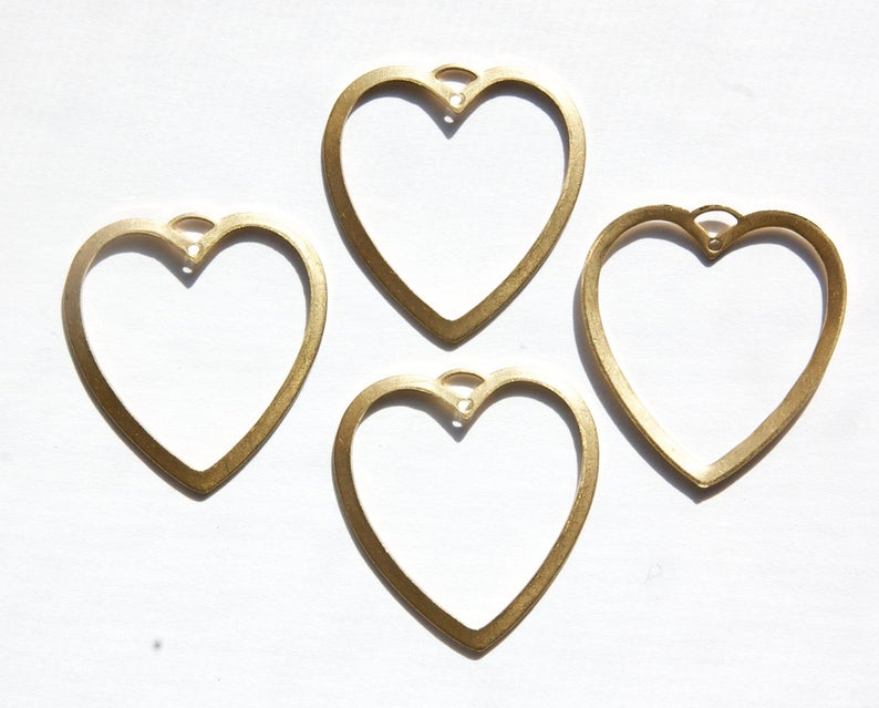 2 Hole Raw Brass Open Heart Pendant Drop 4 Mtl109 Etsy Heart Pendant Raw Brass Pendant