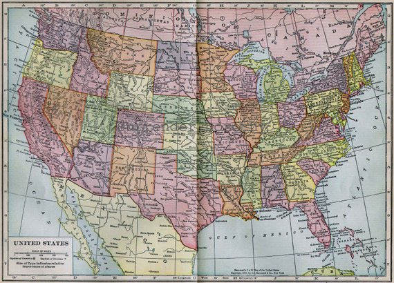 United States Map Picture Frame.United States Map 1906 Vintage Edwardian Antique Hand Colored