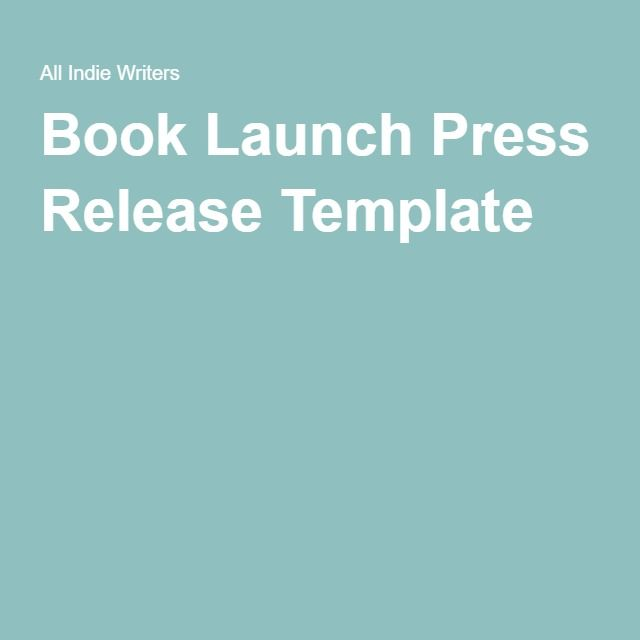 Book Launch Press Release Template Sample